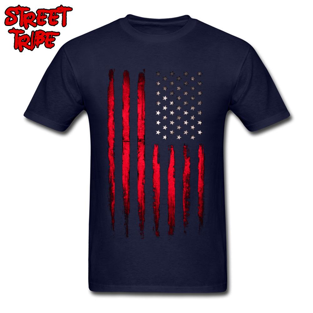 Brand New Boy T-shirts Crewneck Short Sleeve Cotton Fabric Camisa Tops Tees Custom Tops T Shirt Wholesale American stars and stripes flag Grunge navy
