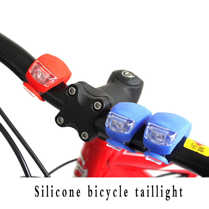 2PCS Rear Front Light LED Silicone MTB//Road Bike With Battery Push Cycle Light