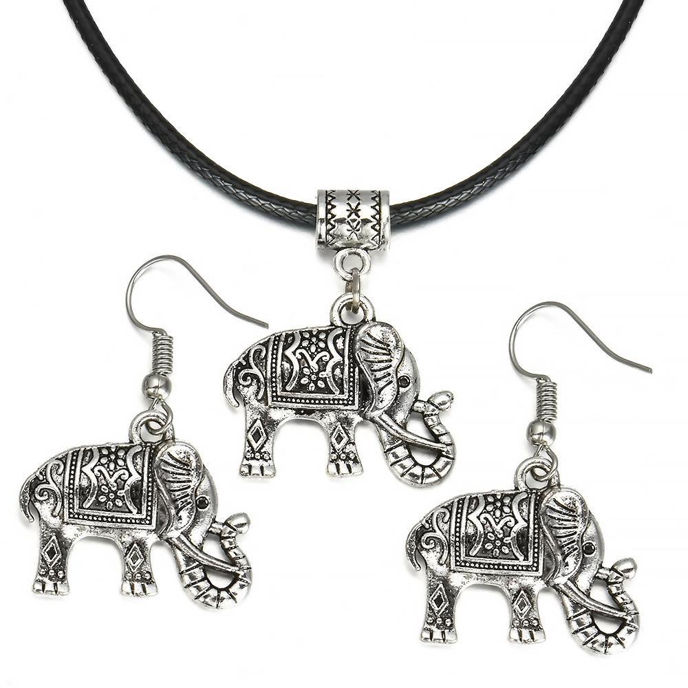 Women Boho Turquoise Elephant Jewelry Necklace Bracelet Earrings Three-Piece Set