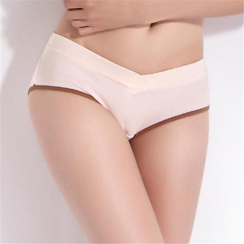 M-XXL Pregnancy Maternity Clothes Cotton Women Pregnant Solid Low Waist Underwear Seamless Soft Care Underwear Clothes S14#F (4)