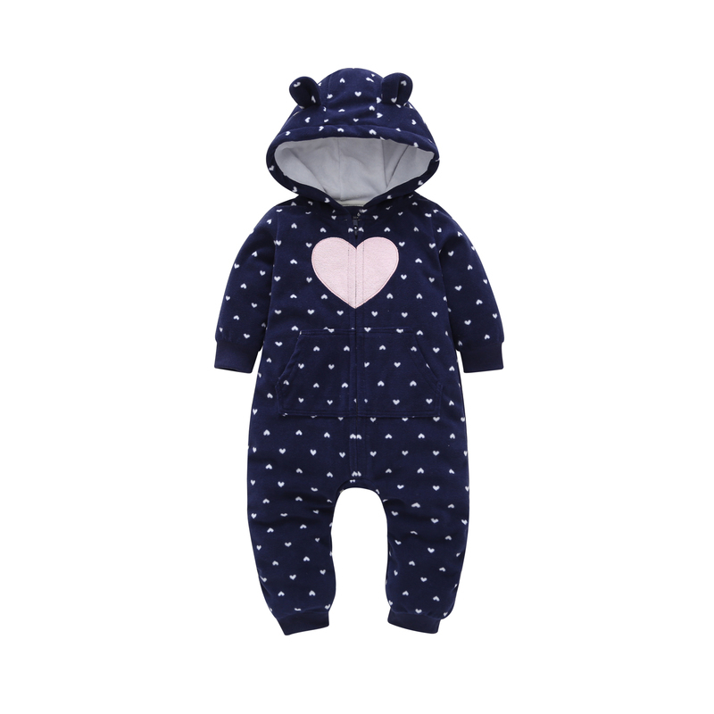 2018 autumn winter newbron baby clothes cotton cute loving heart design one-piece romper hooded Infant baby boy girl Jumpsuit