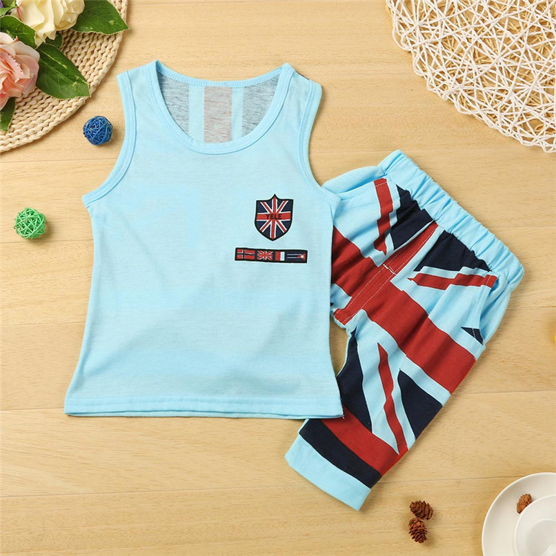 2PCS Boys Sets Kids Baby Boys Union Jack Print Sleeveless Vest Tops+Print Shorts Set Boys Clothes Suit For 2-6T Baby M8Y09 (2)