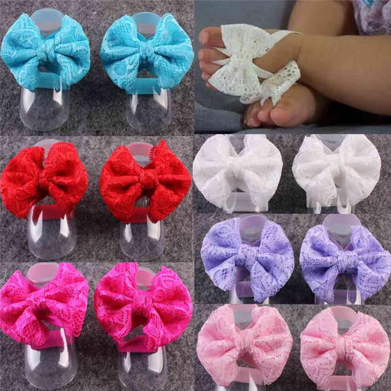 1Pair Fashion Baby Sandals Summer Beautiful Lace Barefoot Toddler Baby Foot Flower Anklet Baby Girl Sandals M8Y29#F (1)