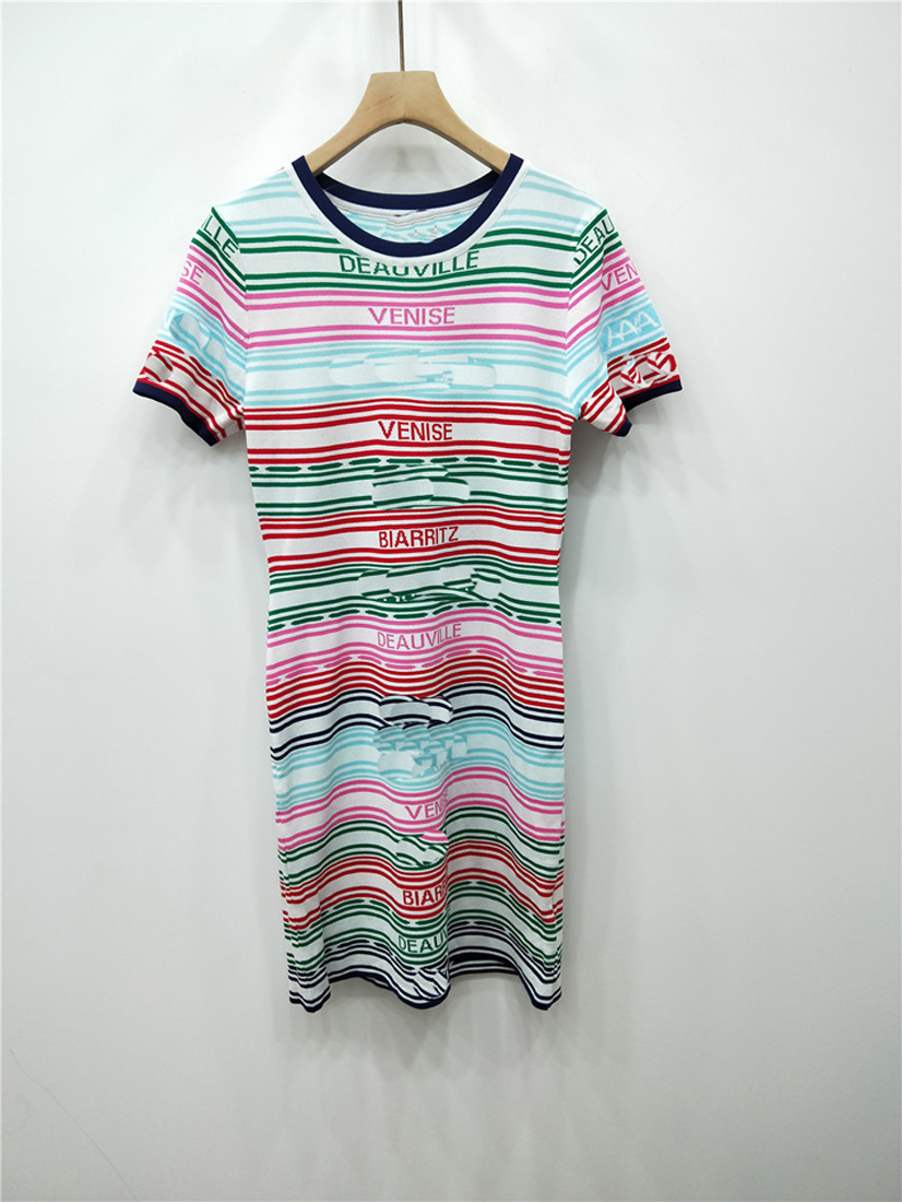 ClearanceColor Strip Lines English Letter Short Sleeve Knitting Dress Slim Thin And Thin