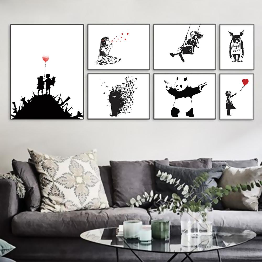 Décoration Salon Moderne Noir Et Blanc banksy abstraite moderne noir blanc hipster art affiche d'impression  accrochage salon toile peinture no frame home decor
