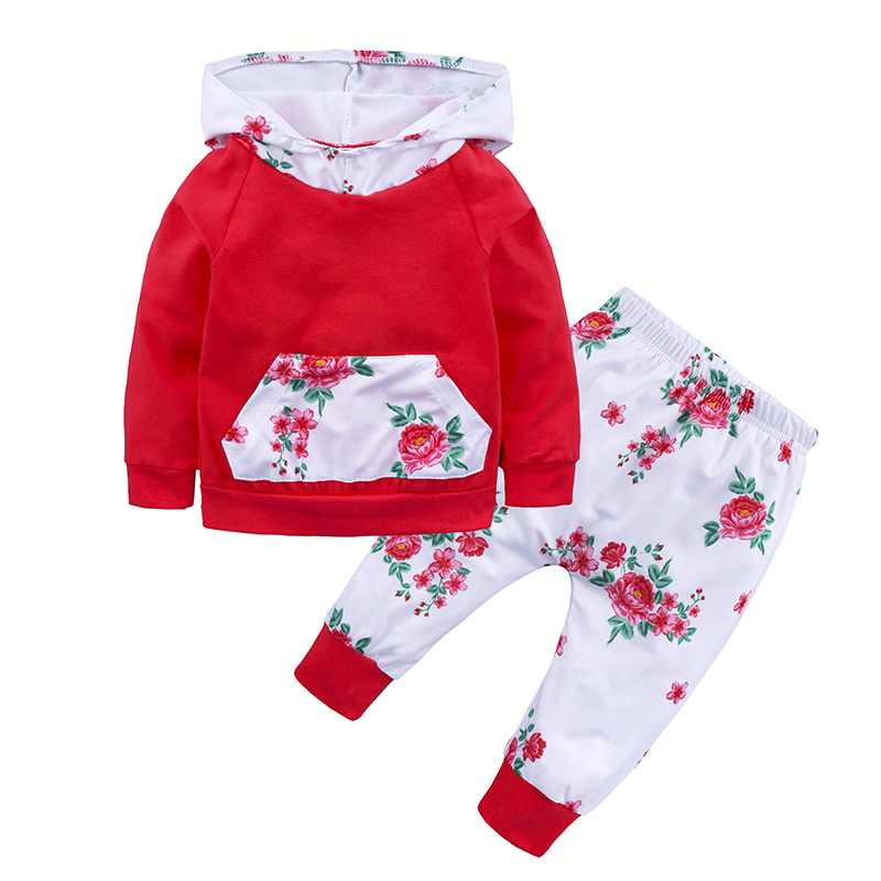 2018 autumn baby clothes red baby girl long sleeve hooded tops+floral pants 2PCS outwear suit new bron baby boy fall outfits