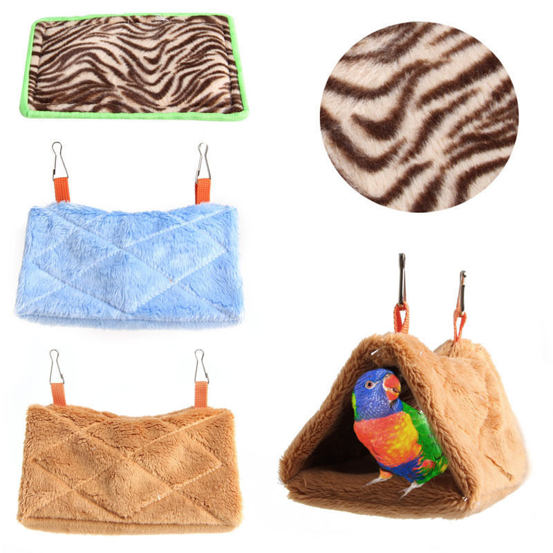 Soft Plush Bird Parrot Hammock Warm Hanging Bed For Pet Cave Cage Hut Tent Toy House