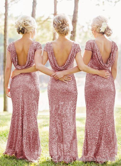Bridesmaid Dresses 2018 Rose Pink Bling Sequined Mermaid Maid Of Honor Gowns Short Sleeve Open Back Long Plus Size Wedding Party Guest Dress