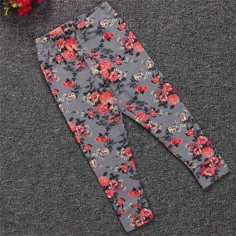 Girls Pants Fashion Toddler Infant Baby Girls Full Pants Flowers Printed Faux Cotton Skinny Pants Suit For 6-24M Baby M8Y09 (25)
