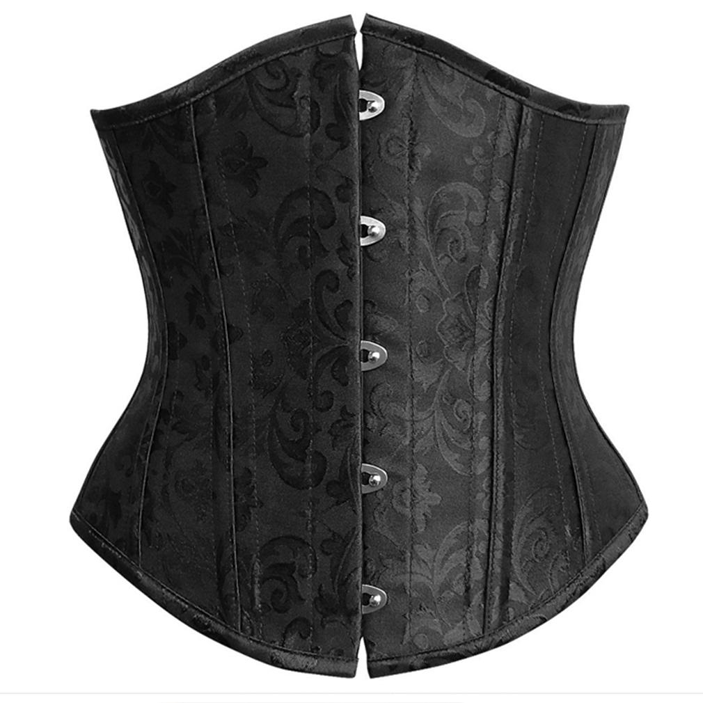 Wholesale Elegant Steel Bone Jacquard Weave Underbust Corset for Women Brown Black Cincher Body Shaper Bustier Corselet