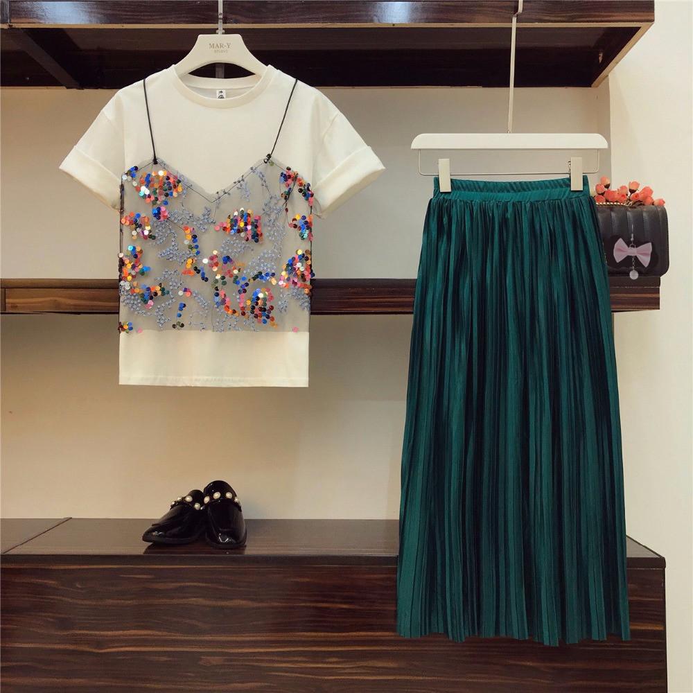2018-Trendy-Summer-Women-Patchwork-Mesh-T-shirt-Beautiful-Pleated-Skirt-2-pcs-sets_
