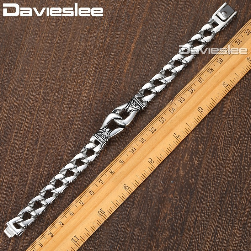 Davieslee Mens Bracelet Chain 316l Stainless Steel Punk Bracelets For Men Curved Silver Color Curb Chains Cuban Link 15mm Lhb10 Y19051002