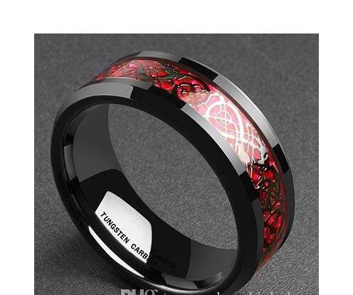 De carburo de tungsteno para hombre mujer Anillo de boda embutido de fibra de carbono Negro y Rojo