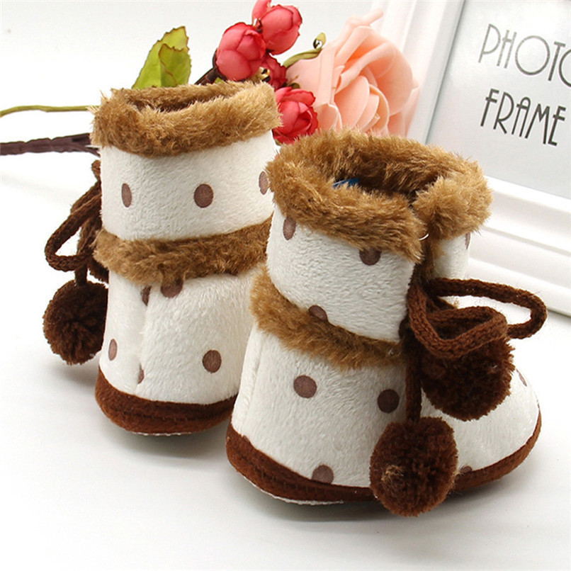 1 Pair Baby Girl Boots Baby Girl Dot Printed Bowknot Soft Sole Snow Boots Soft Crib Shoes Toddler winter Boots bota infantil D10 (2)