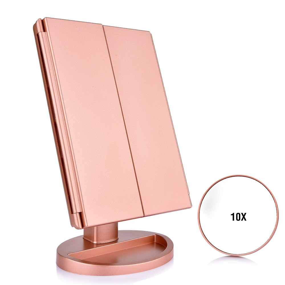 Touch Screen 22 LED Lights Makeup Mirror Tabletop Makeup 3 Folding Vanity Mirror 1X2X3X10X Magnifying Cosmetic Mirrors Gift (6)