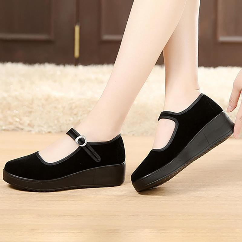Designer Dress Shoes Senza Fretta Women Wedges Women for Work Cloth Wedges Vintage Women's Pregnant Wedges Boat LDK0622
