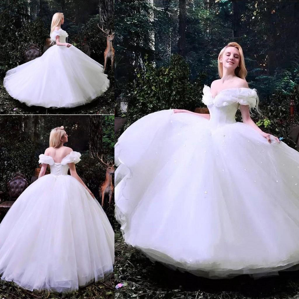2019 White Ball Gown Corset Wedding Dresses Off Shoulder