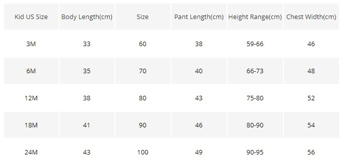 001 SIZE CHART HARRY POTTER BABY CLOTHES SET