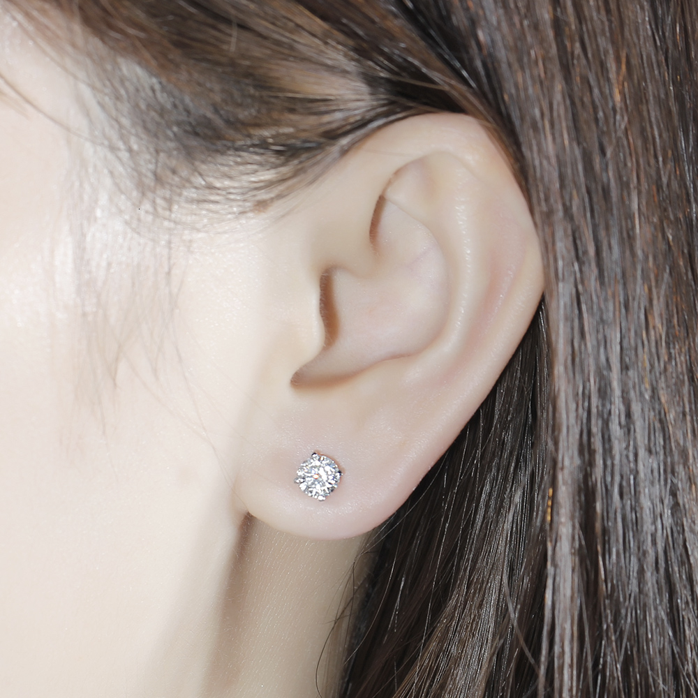 Solid 14K 585 White Gold 6.5mm F Color Heart and Arrow Cut Lab Grown Moissanite Stud Earrings for Women Push Back(5)