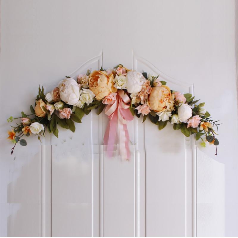 Rose Peony Artificial Flowers Garland European Lintel Wall Decorative Flower Door Wreath For Wedding Home Christmas Decoration