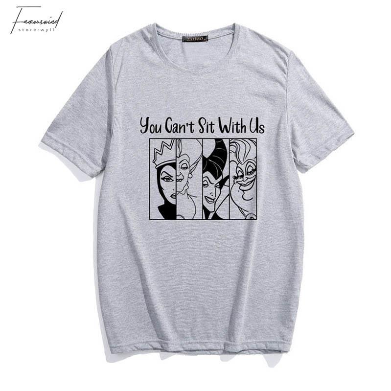 Você não pode sentar-se com t-shirt impressão Us Villain Carta dos desenhos animados New Verão Mulheres Harajuku Maleficent Rainha Má gráficas partes superiores legal T