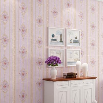 Stickers muraux Papier peint /à rayures verticales rose chaud de haute qualit/é salon chambre 3D fleur pastorale europ/éenne non-tiss/é papiers peints TV retour