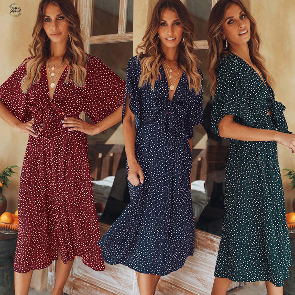 Benficial Women Casual Boho Floral Embroidery V-Neck Ruffled Linen Maxi Kaftan Dresse 2019 Summer