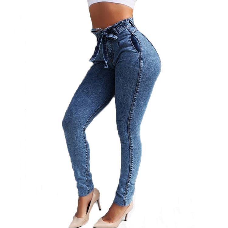 Moda Cintura alta Denim Mujer Chica Tamaño Streetwear Vendaje Pantalones Skinny Jeans Mujer