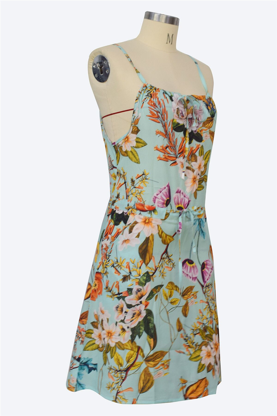 Gladiolus Chiffon Women Summer Dress Spaghetti Strap Floral Print Pocket Sexy Bohemian Beach Dress 2019 Short Ladies Dresses (30)