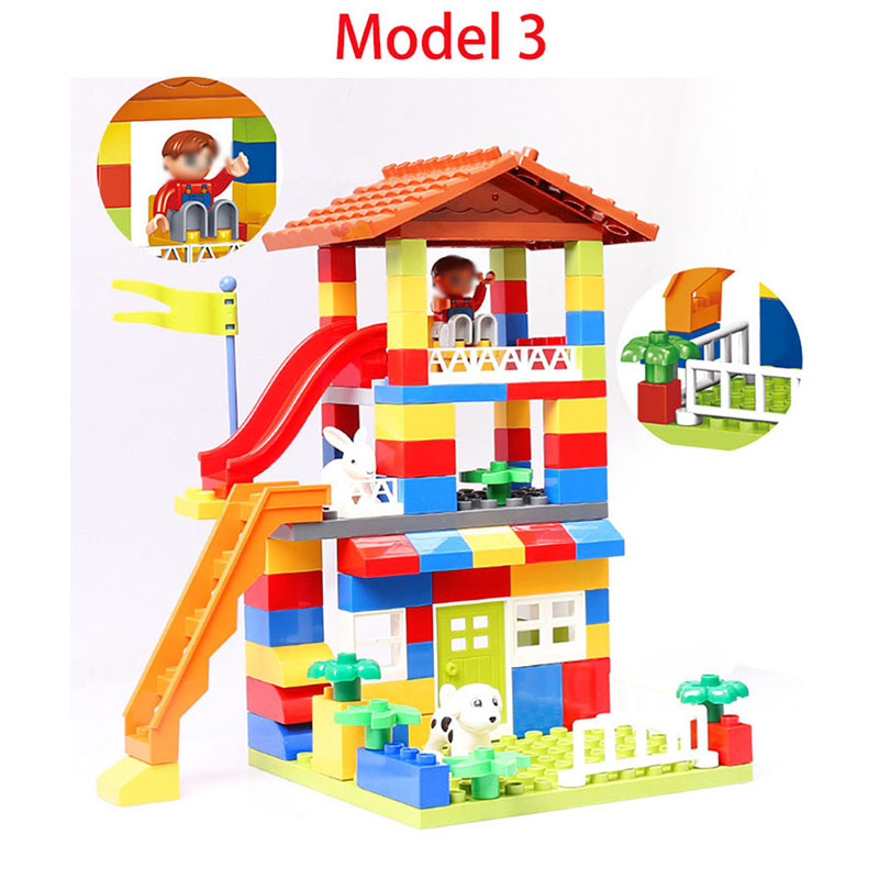Diy Colorful City House Roof Big Particle Building Blocks Castle Educational Toy For Children Compatible Slide GiftMX190820