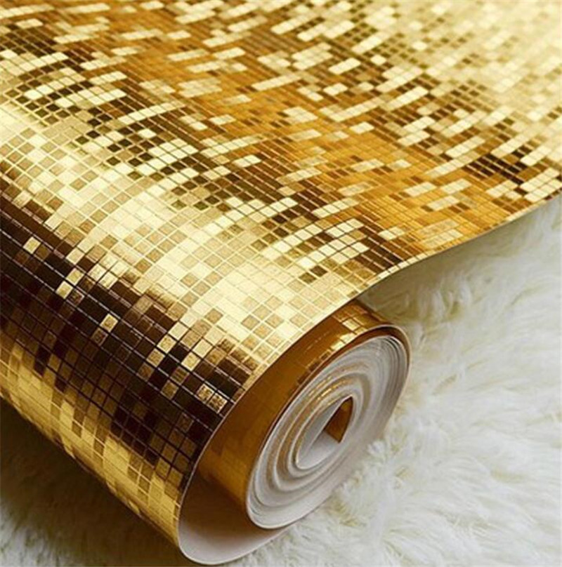 10M Mosaic Silver//Gold Rolls Wallpaper Luxury Metallic Design Glitter Decorate