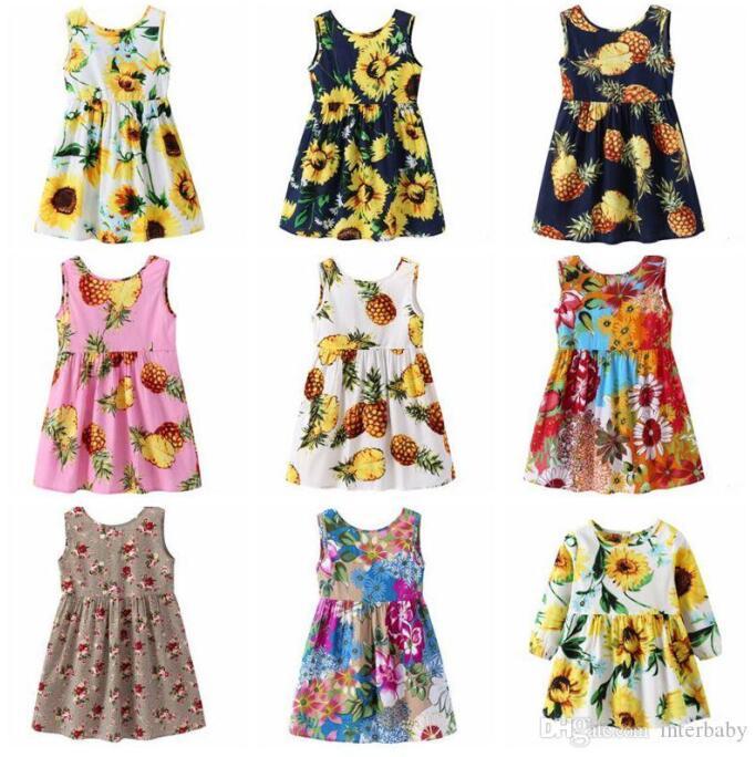 US Kids Girls Party Toddler Denim Dress Flower Print Summer Princess Sundress