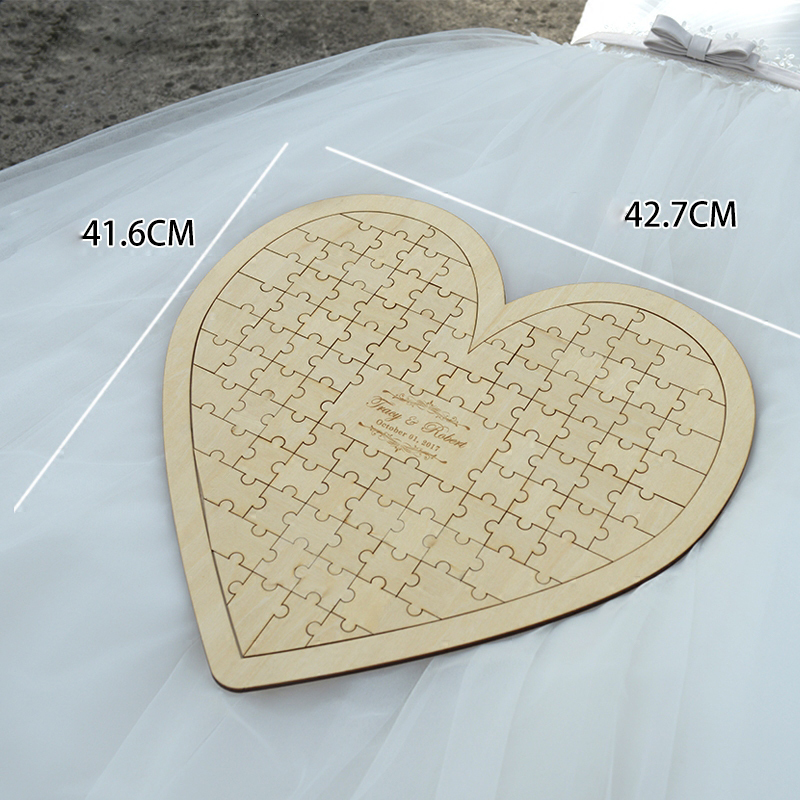 Customs Personalised Puzzle Heart Shaped wedding guestbook alternative hanging heart Puzzle Wedding guest book hearts (2)