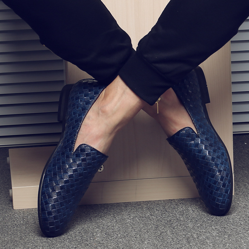 12019 Men Pu Knit Flat Leather Shoes High Quality Breathable Casual Pointed Toe Party Dress Wedding Shoes Dropshipping Size 37-48
