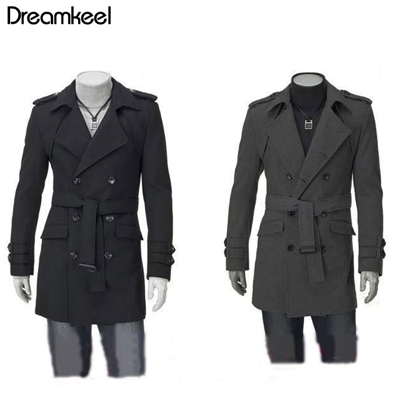 2019 Winter Fashion Men Long Overcoat Solid Double-breasted Outwear Coat monclaire jacket mens overcoats double breasted men Y