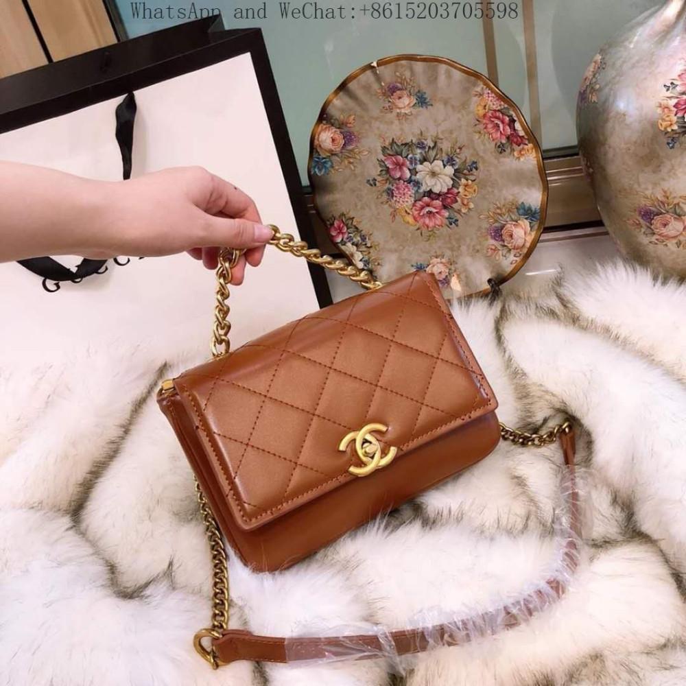 Bolso de diseñador Bolso de lujo Bolso de las mujeres Retro Anillo de metal Lustre Dama Cruzada Bolsa de cuerpo Bolso de hombro de cuero verdadero de la vendimia 23x17x9cm 104039