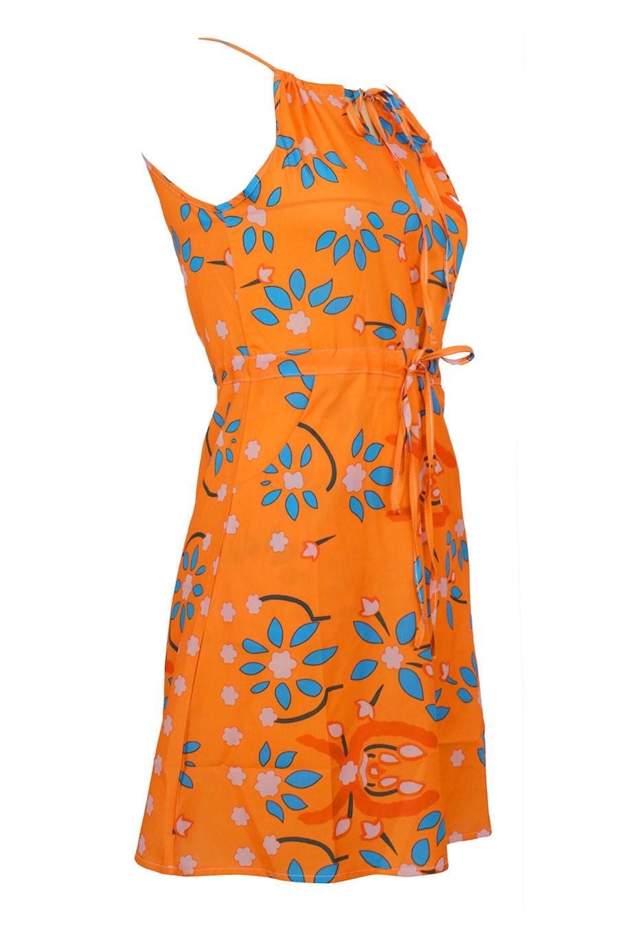 Gladiolus Chiffon Women Summer Dress Spaghetti Strap Floral Print Pocket Sexy Bohemian Beach Dress 2019 Short Ladies Dresses (18)