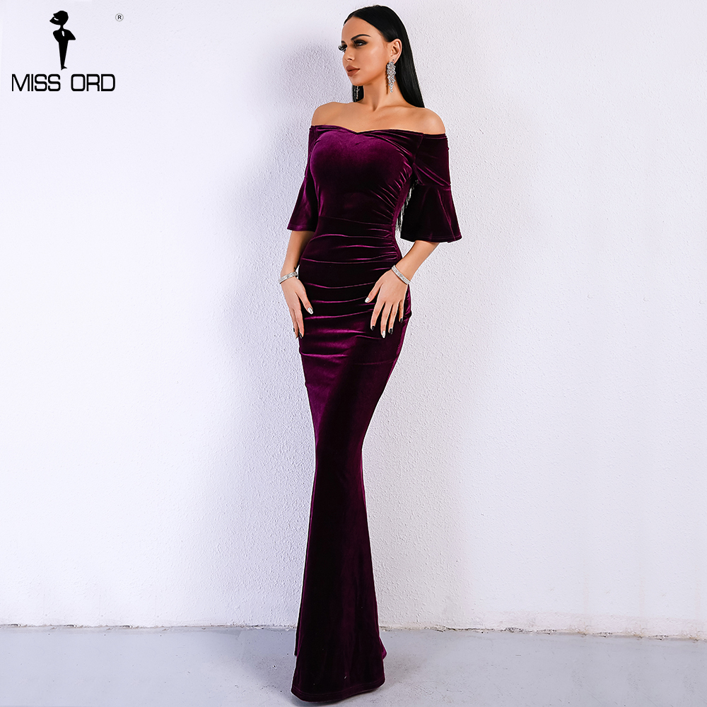 7cd0afcbd4 2019 Missord 2019 Women Sexy Off Shoulder Speaker Sleeve Female Dresses  Velvet Solid Color Bodycon Elegant Maxi Party Dress FT9080 Y190117 From ...