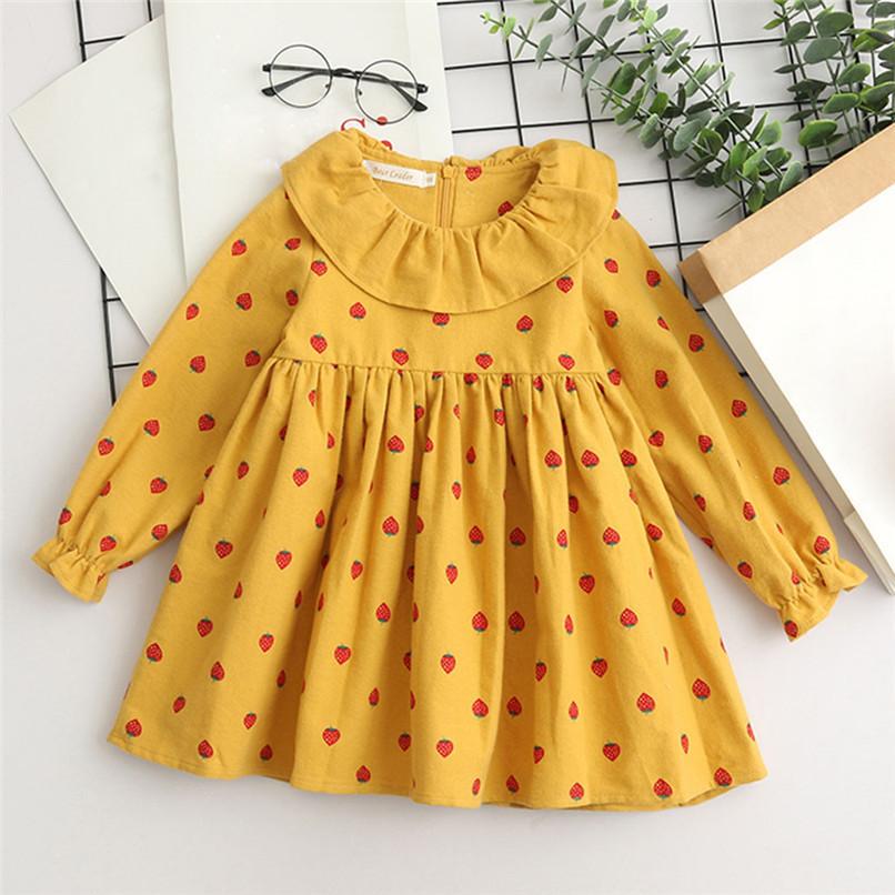 Baby Girl Clothes Long Sleeve Girls Dress Toddler Baby Kids Girls Strawberry Printed Ruffles Party Princess Dress robe fille D13 (9)
