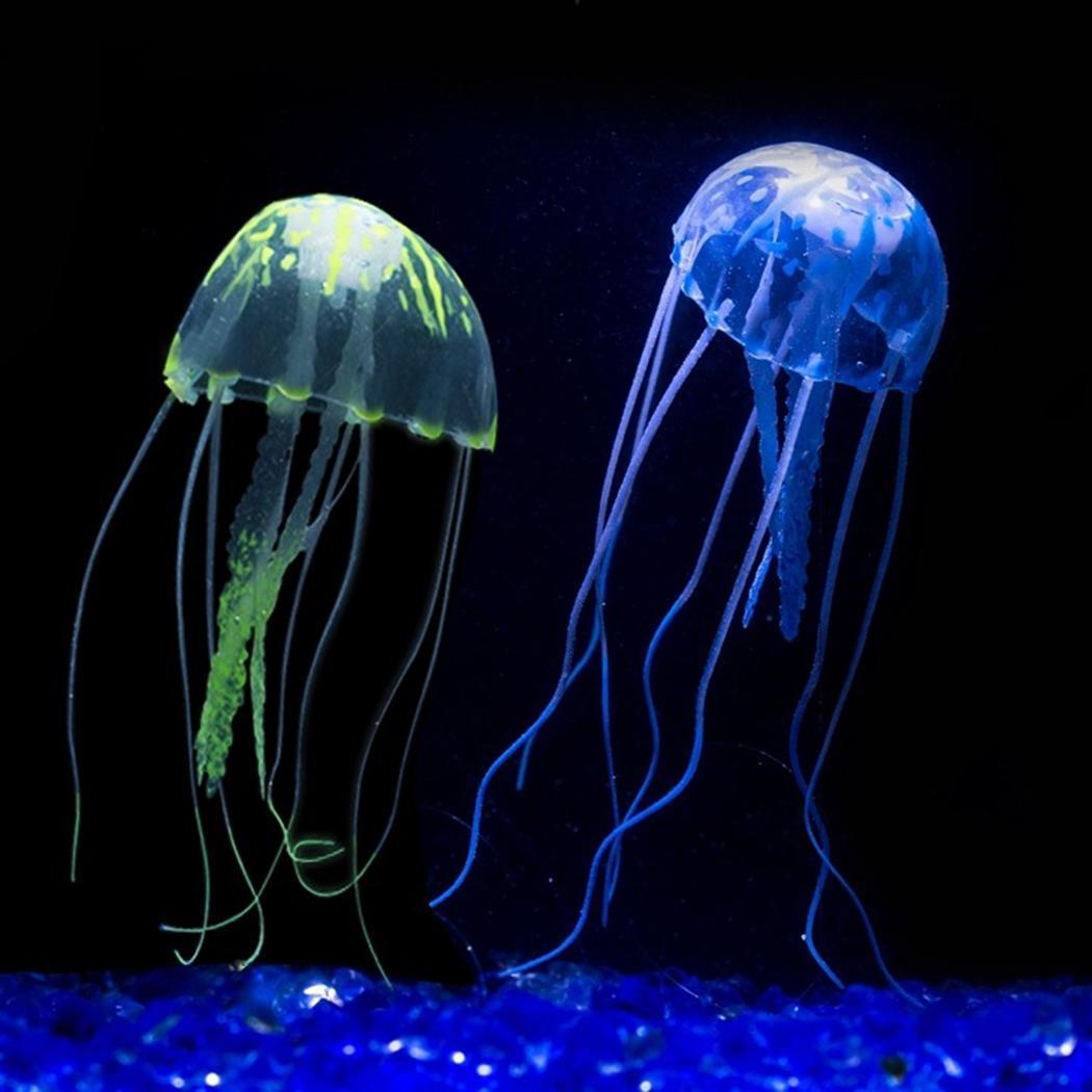 Yeni Moda LED Işık Balık Tankı Akvaryum Yapay Parlayan Etkisi Balık Süs Denizanası Yeni Denizanası