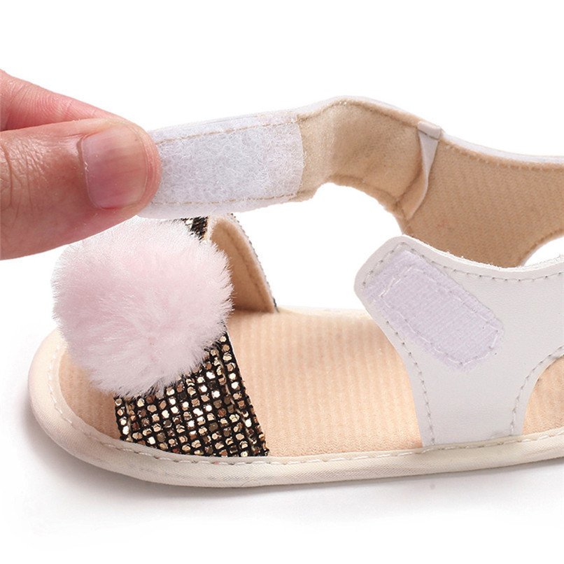 3 Color Summer Baby Girl Shoes Newborn Toddler Baby Girl Soft Ball Sequins Sandals Soft Sole Anti-slip Shoes Girl Sandals JE14#F (15)