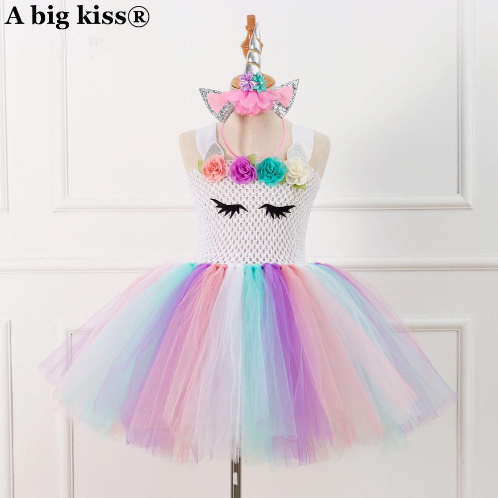New Custom Handmade Gauze Princess Tuxedo Oumeifeng Unicorns Tutu Dress Send Hair Jewelry Girl Dress Girls Tutu Dress MX190724 MX190725