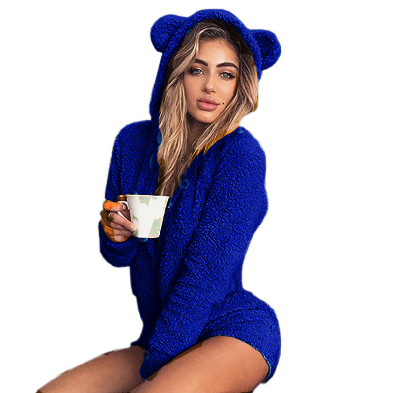New Fleece Hooded Bodysuit Winter Long Sleeve Solid Autumn Rompers Fuzzy Casual Sweet Girls Kawaii Playsuits Plus Size 3XL M0003 S190423