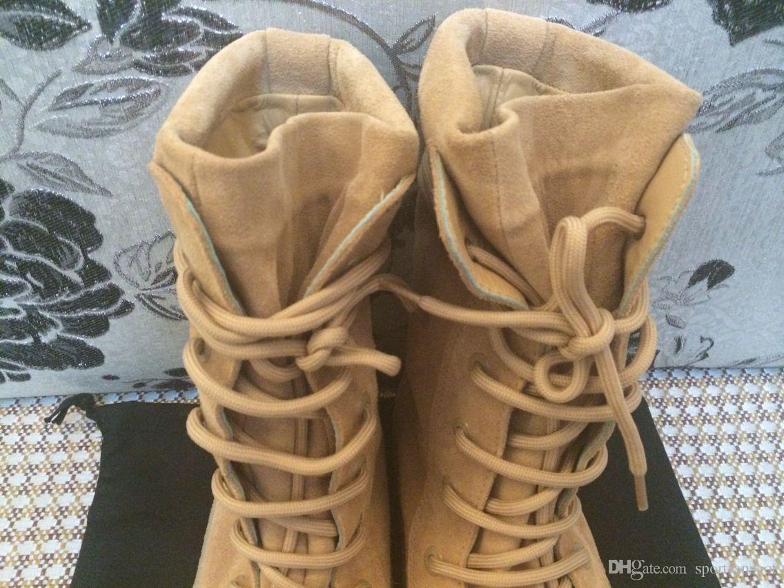 Cuir Kanye West Saison 2 Botte en Crêpe New High Cut Fabriqué en Espagne avec une botte de botte militaire Hommes taille de botte 36-45