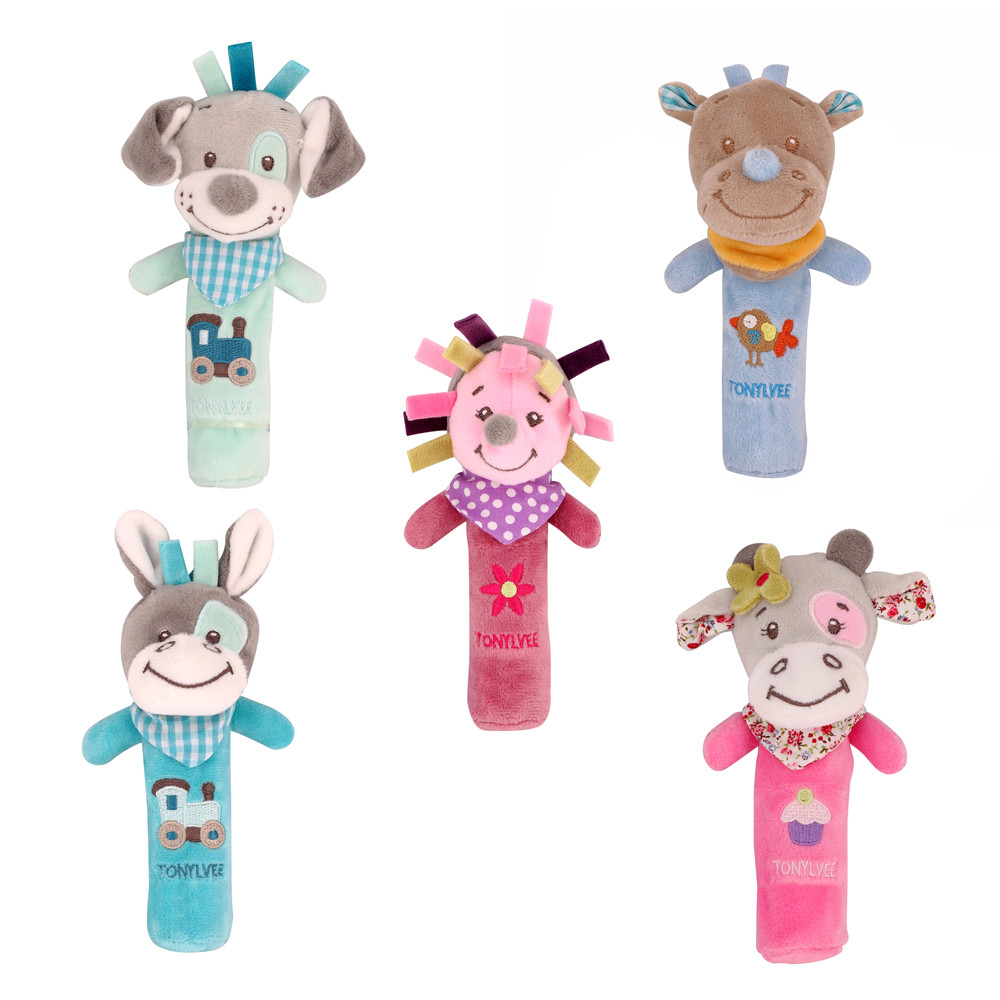 Hot Sale Baby Rattles Mobiles BB Sticks Soft Cow Plush Doll Crib Bed Hanging hand catches Animal Toy Doll Kids Toy