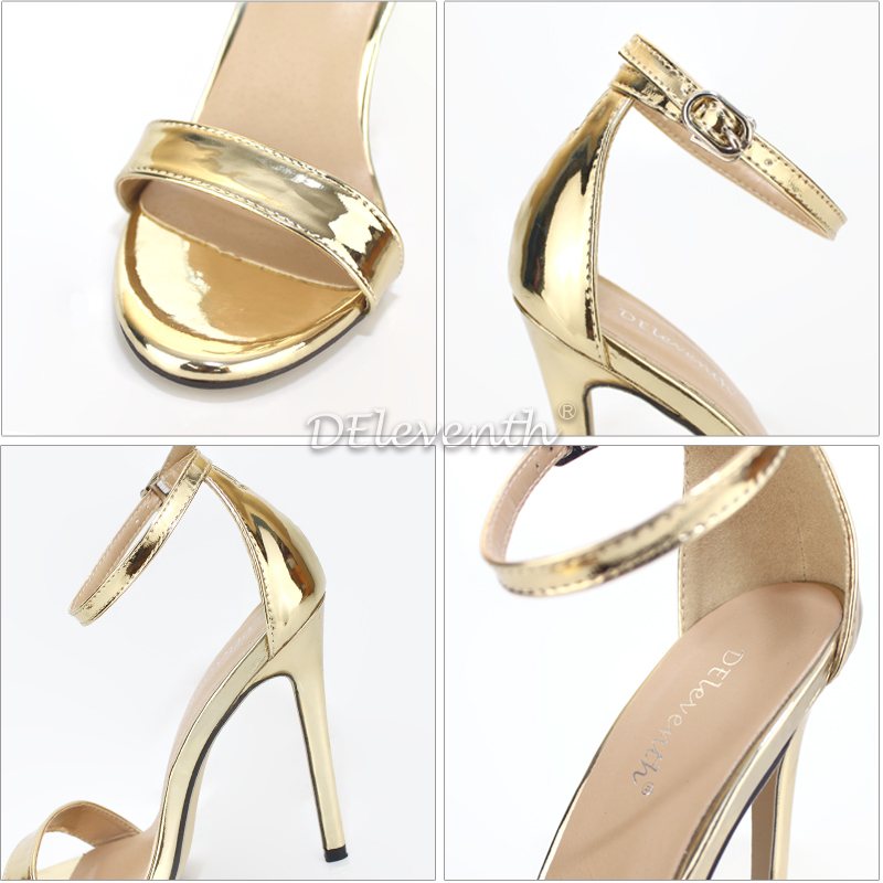Deleventh Brand Name Za Fashion Woman Sexy Peep Toe Stiletto High Heel Shoes Sandals Party Dress Gold Silver Wedding Shoes Eu43 Y19070303