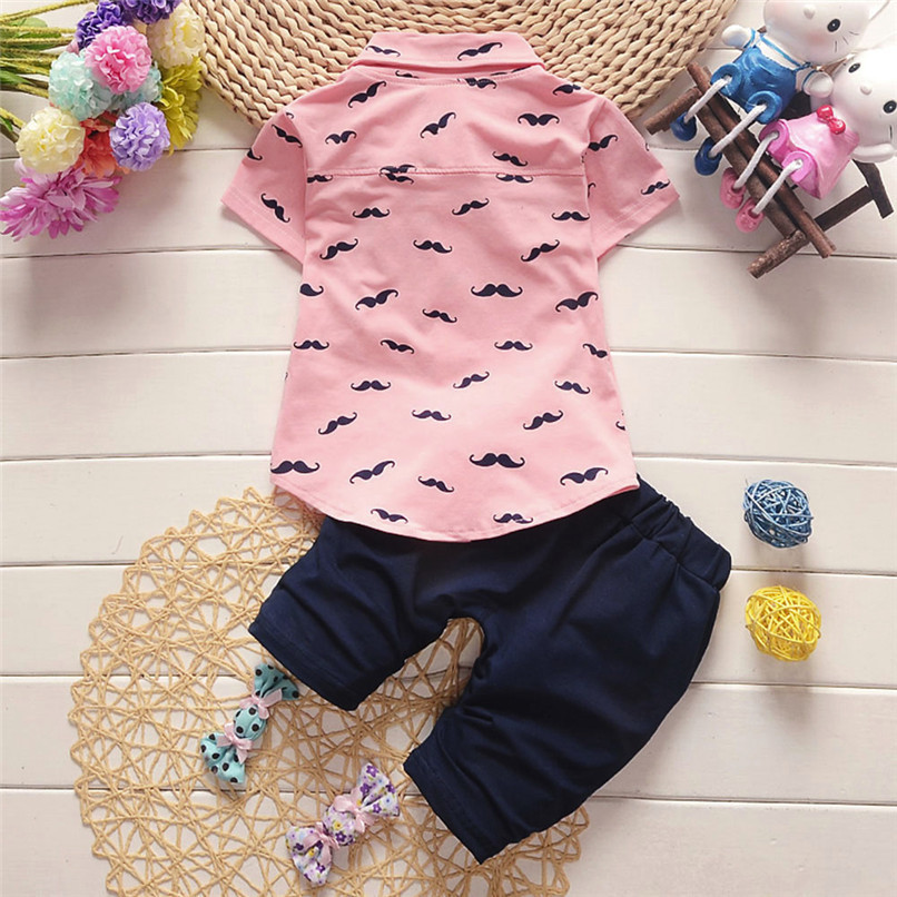 2PCS Baby Clothes Toddler Kids Baby Boys Short Sleeve Beard Print T-Shirt Tops+Letter Shorts Pants Set Boy Sets Clothes M8Y30#F (14)