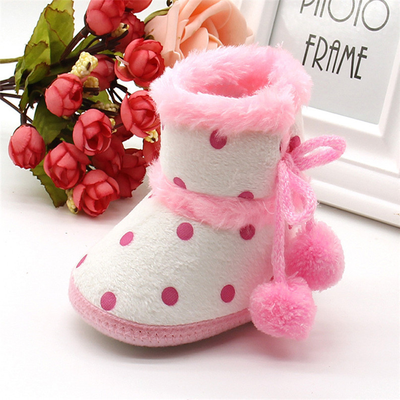 1 Pair Baby Girl Boots Baby Girl Dot Printed Bowknot Soft Sole Snow Boots Soft Crib Shoes Toddler winter Boots bota infantil D10 (12)