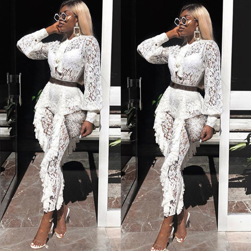 Sheer Long Sleeve White Lace Jumpsuit For Women Sexy See Through Floral Ruffles Bodycon Rompers Christmas Night Club Overalls Q190427