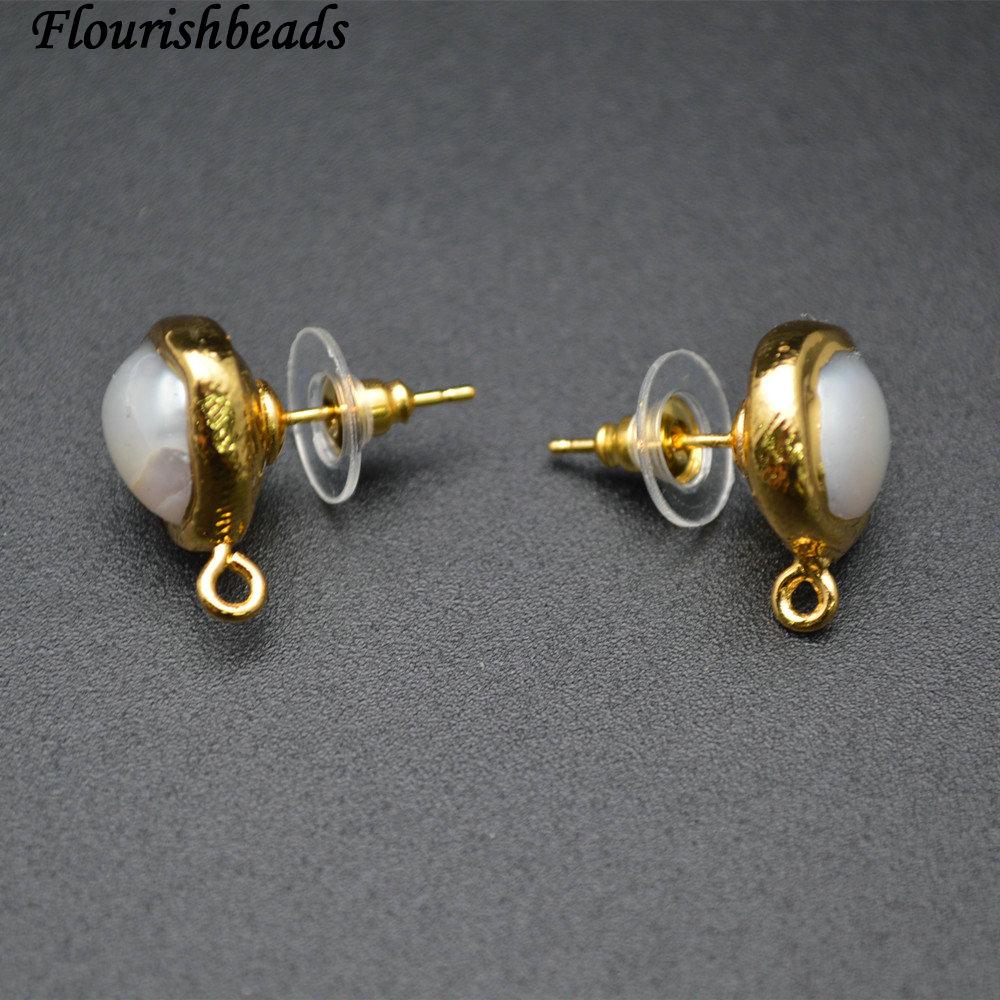 Anti-Verblassen Vergoldung Natürliche Weiße Perle Runde Form Baumeln Ohrringe Teile Schmuckklammern Erkenntnisse